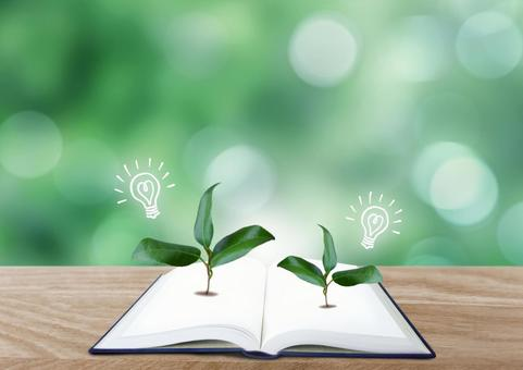 Image of books and seedlings