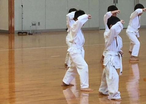 Children practicing karate.