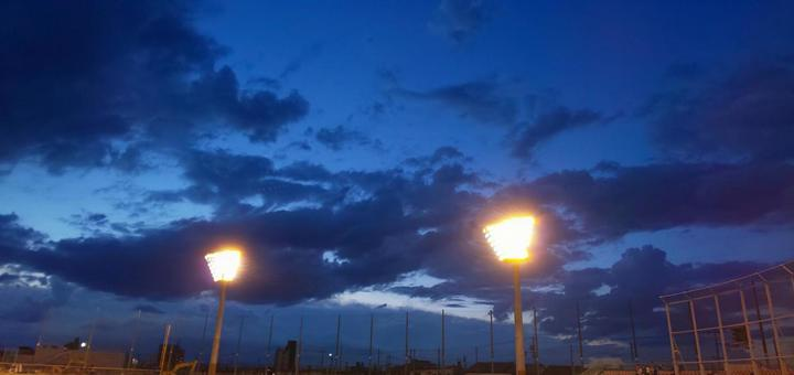 Baseball field lights on