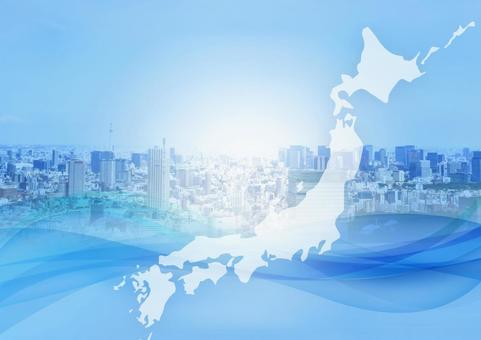 City and Japan Map Abstract Wave