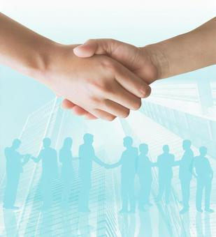 合同形成 - 握手 - 淡藍色