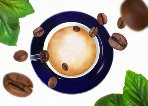 커피 내리는 커피 라떼 (콩 시선 잎 세트)