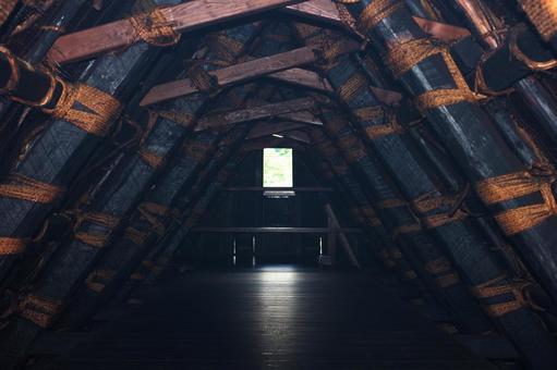 시라카와 고 갓 쇼즈 쿠리 마을 건물 (지붕) 내부