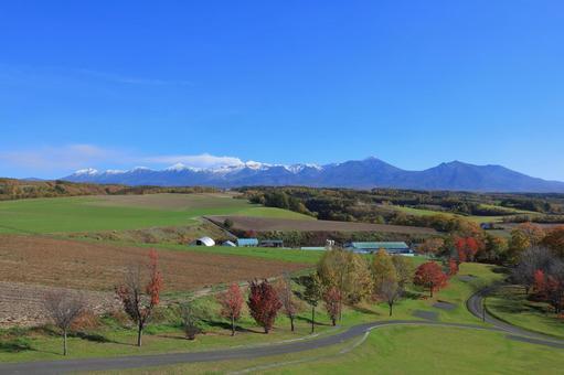 Kamifurano Town Autumn Tokachidake mountain range seen from Hinode Park