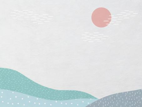 日之出和山景日本紙_藍綠色現代日本花紋紋理_背景材料