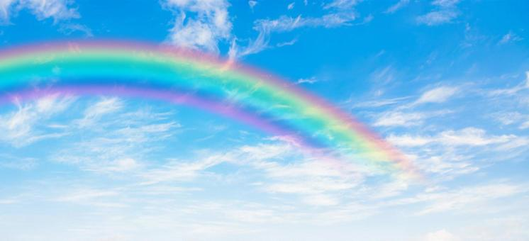 Background material for blue sky, rainbow and clouds