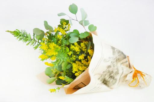 Bouquet of mimosa and eucalyptus