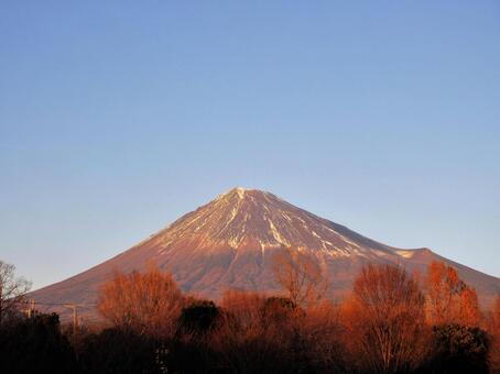 Mt. Fuji in winter in the sunset 2