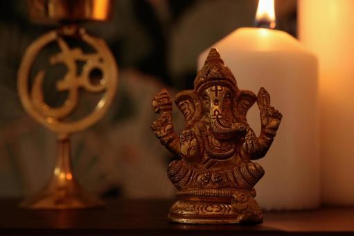 Ganesha figurine and healing space
