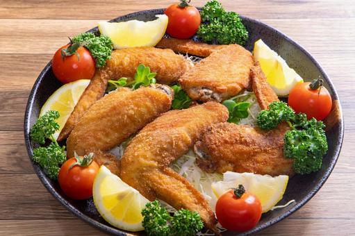 닭 날개 튀김 야채