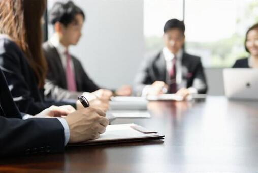 A businessman having a meeting in a bright meeting room