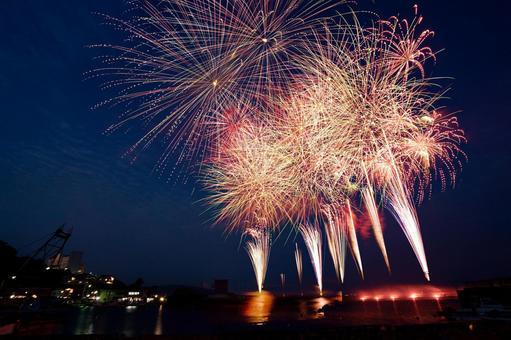Sea and big fireworks