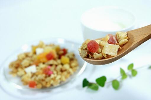 Granola dried fruits healthy diet diet yogurt