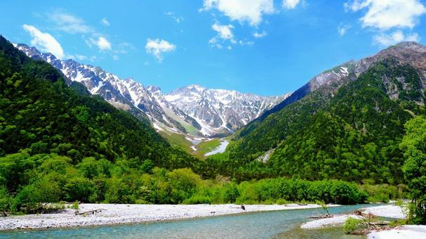 Azusa River and Mt. Hotaka seen from Kamikochi