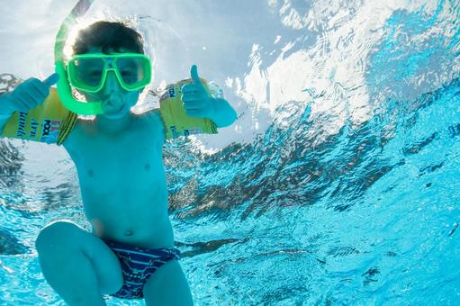 Boys dive in the pool with snorkel 6