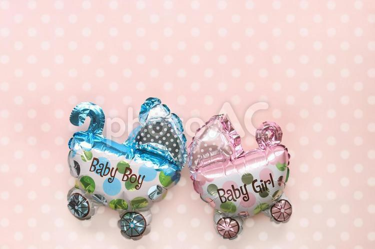 ベビーカーバルーン 水玉の写真