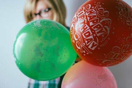 Birthday celebration Looking at balloons