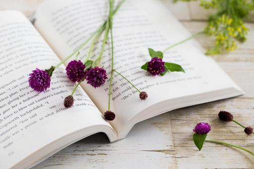Autumn flowers and books