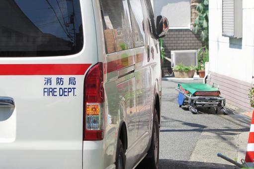 Ambulance and litter