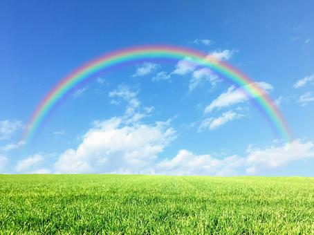 Blue sky and rainbow in the meadow 3