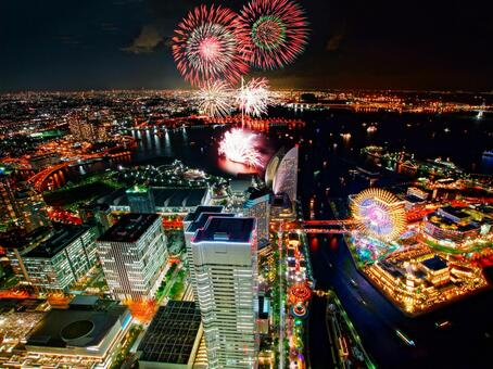 Fireworks at the Yokohama Opening Festival (from the Landmark Tower) 4