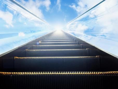 Escalator leading to the sky