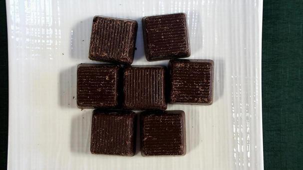 Square black chocolate