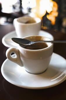Coffee and spoon of coffee shop