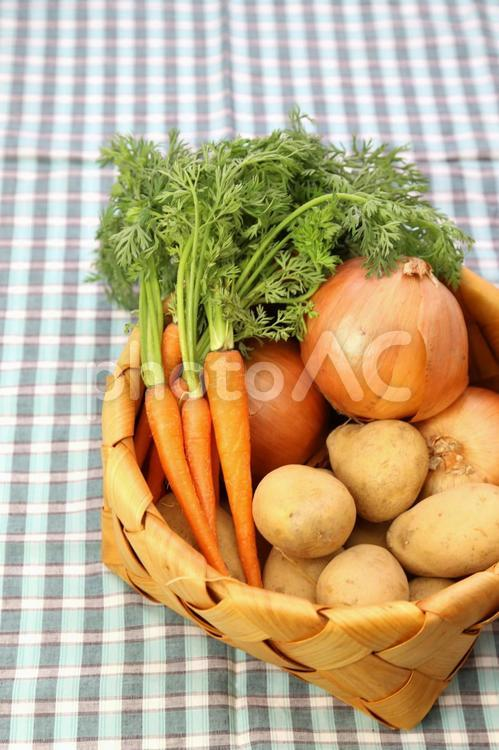 籠の中のカレー野菜3の写真