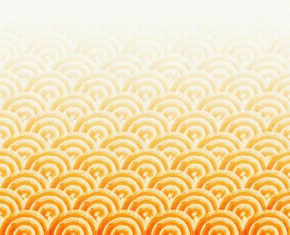 Hand-painted wind texture of Japanese Pattern (Qinghai wave) # Gold