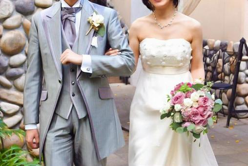 Wedding bride and groom arms