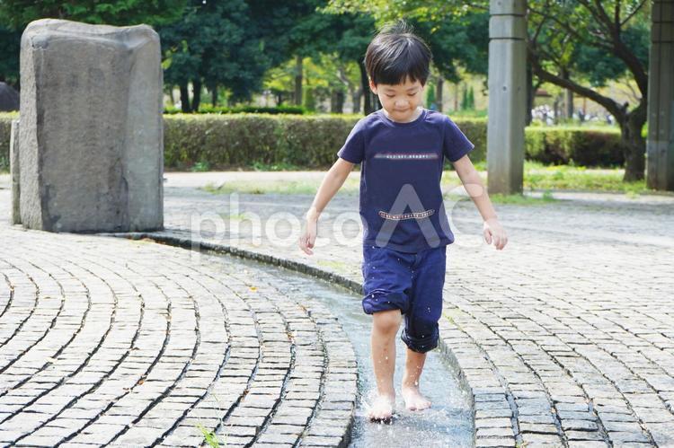 じゃぶじゃぶ池で水遊びをする子供の写真