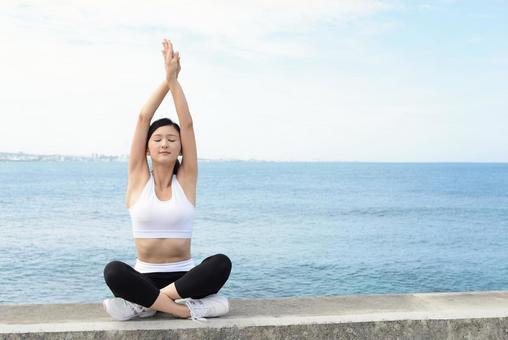 Women stretch yoga