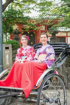 Women's Yukata rode rickshaw women Foreign tourists 31