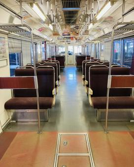 Inside the train without passengers
