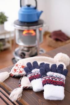 Gloves and knit cap