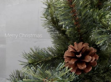 Christmas tree and gray tile Christmas card
