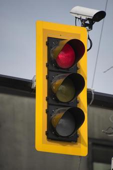 북미 식 신호등 (빨강) 밴쿠버 브리티시 컬럼비아 캐나다