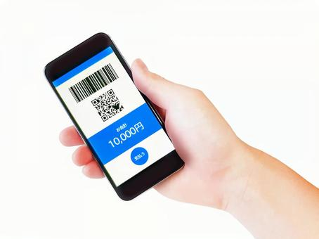 Hands of cashless payments / contactless payments / electronic money payments / qr code payments / bar code payments / mobile phones / smartphones / accessories / miscellaneous goods / blue