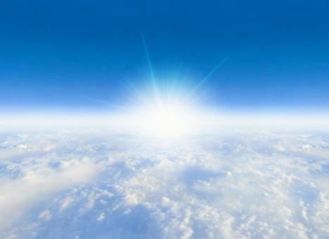 Shining sea of clouds and blue sky Sun rays