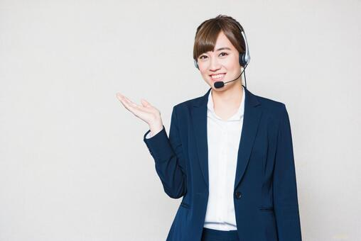 Female employee with a headset 12