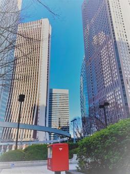 신주쿠 고층 빌딩과 포스트