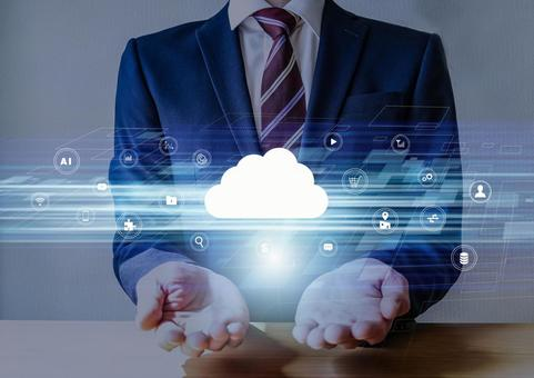 Businessmen and web cloud high speed network