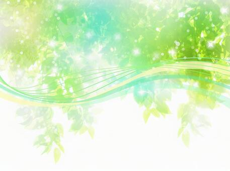 Fresh green sunbeams and streamlined abstract background