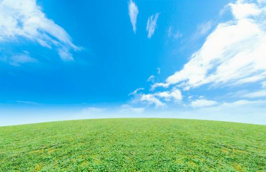 スピード感のある青空と草原