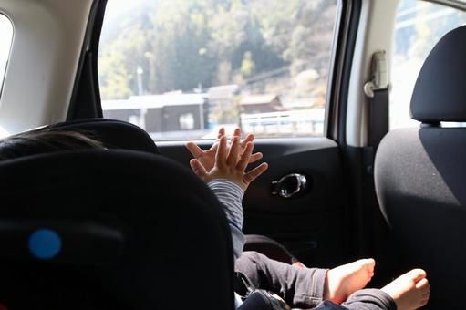 Children ride a child seat
