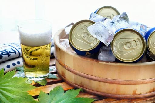 Summer canned beer chilled with ice