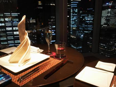 A special dinner with a night view