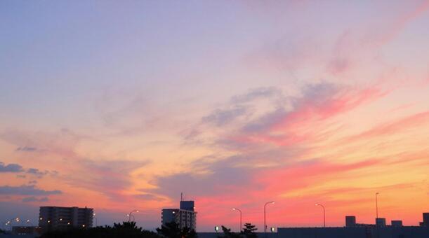 Sky orange dyed sunset sky sky background pink