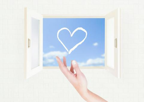 Heart floating in the window